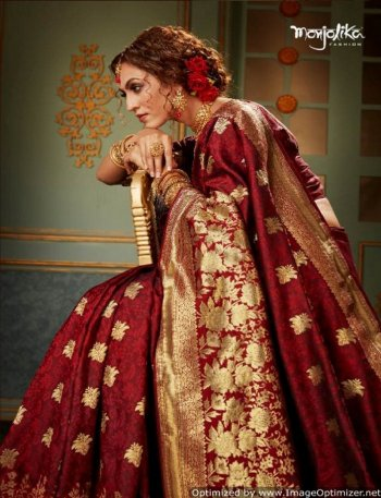 maroon banarasi silk fabric weaving work wedding