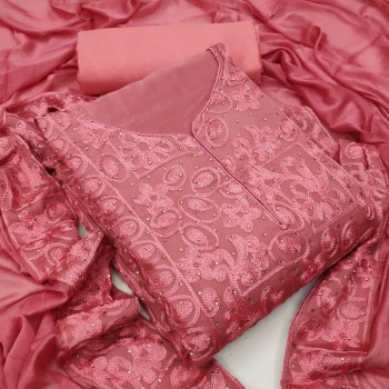jam pink heavy chinon fabric embroidery work casual