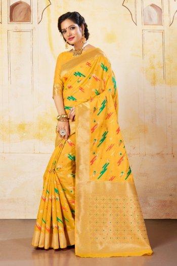 yellow chanderi silk fabric weaving work festival