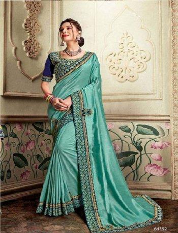 mint vichitra silk fabric embroidery work wedding