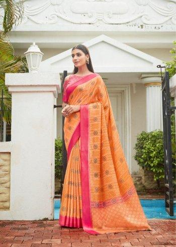 orange silk braso fabric printed work casual