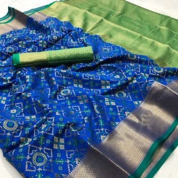 royal blue silk fabric weaving work festival