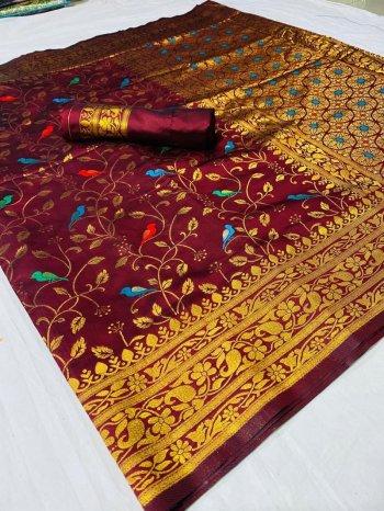 maroon silk fabric weaving work festival