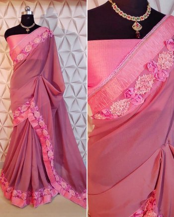 pink georgette fabric heavy border work party