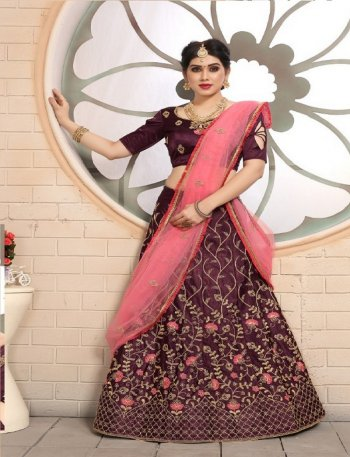 maroon pure satine fabric embroidery zari work wedding