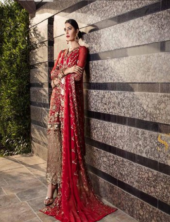 red faux georgette fabric heavy embroidery and diamond work wedding