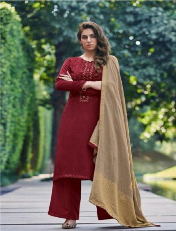 maroon nahya silk fabric embroidery work festival