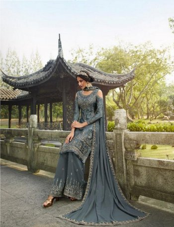 grey georgette  fabric chinon hand work work festival