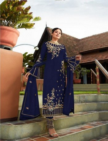 royal blue faux georgette fabric embroidery work festival