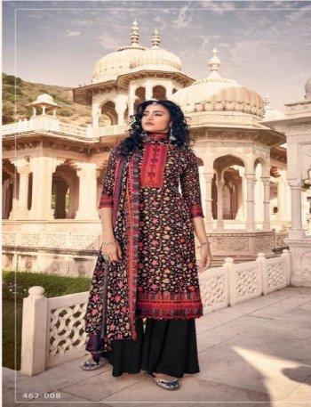 black pure pashmina fabric digital print work casual