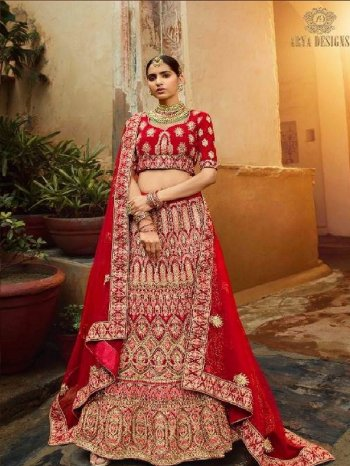 ruby red pure velvet fabric zarkan dori ,zari  work bridel