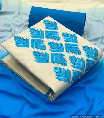 sky khadi cotton fabric embroidery work festival
