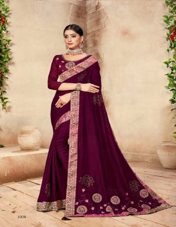 wine vichitra silk fabric embroidery work party