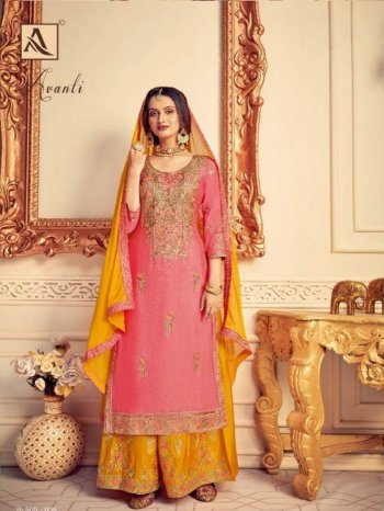 pink pure chinon fabric heavy embroidery work wedding