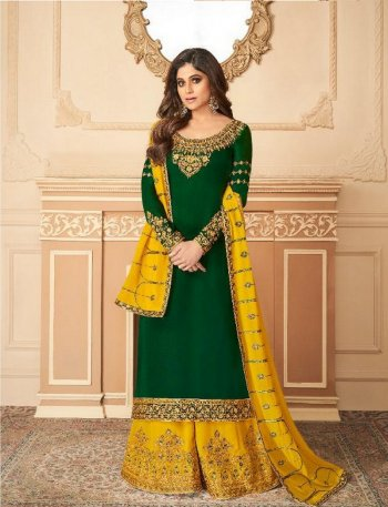 green silk satin fabric heavy embroidery work wedding
