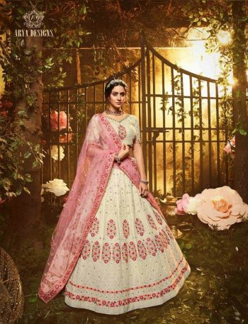 cream georgette fabric thread, zari and sequnece work wedding