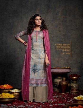 slate heavy pashmina fabric print work festival