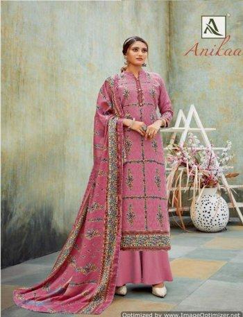 pink pure pashmina fabric print work casual