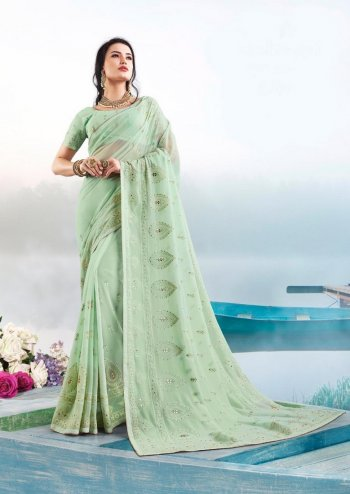 mint green bember georgette fabric thread with diamond work fesytival
