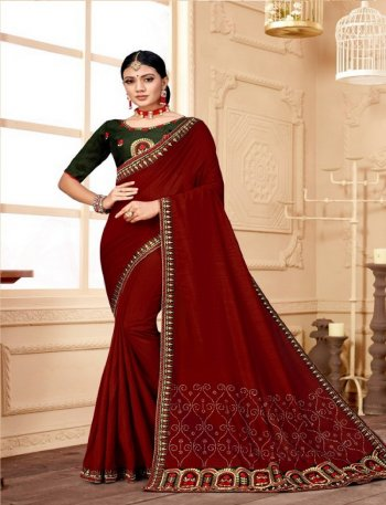 maroon vichitra silk fabric embroidery work wedding