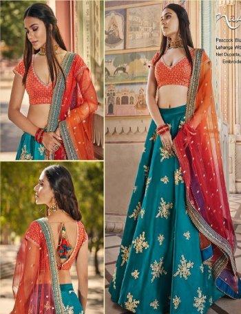 peacock blue silk satin fabric zari embroidery work bridal