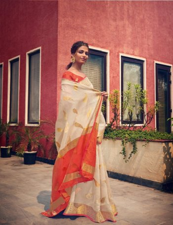 off white cotton fabric weaving work wedding