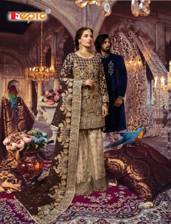 coffee georgette fabric heavy embroidery with jardosi work wedding