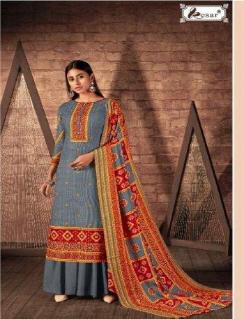 grey pure pashmina  fabric digital style print work casual