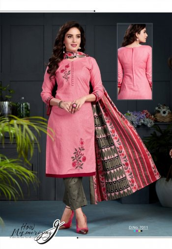 baby pink cotton fabric print work casual