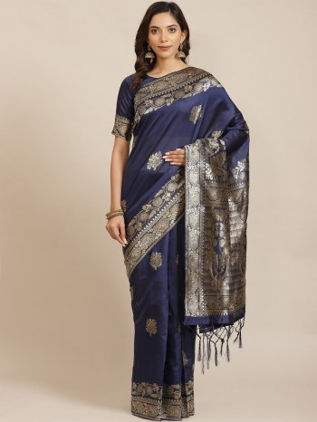 navy blue silk fabric weaving work festival