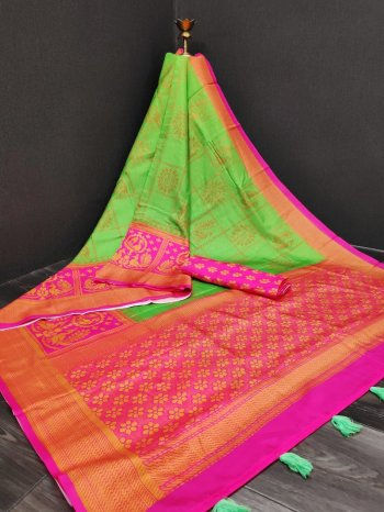 nion parrot silk with rich pallu fabric weaving work festival