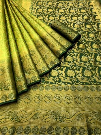 nion parrot pure banarasi soft silk fabric weaving work festival