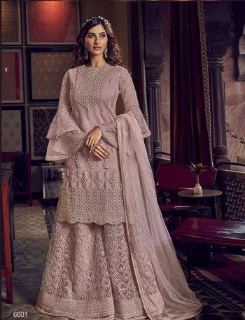dusty pink butter net fabric heavy embroidery  work wedding