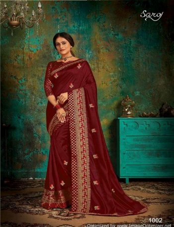maroon vichitra silk fabric heavy border butta work wedding