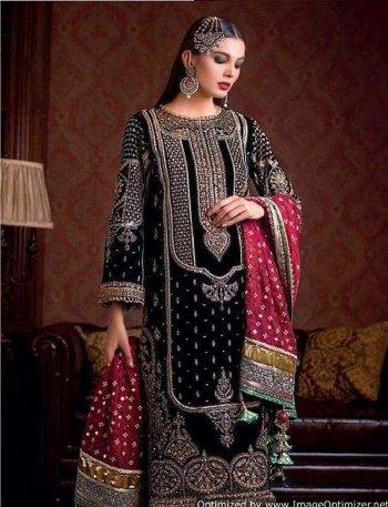 black fox georgette fabric heavy embroidery work wedding