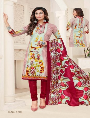 multi pure cotton fabric print work casual