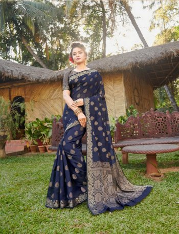 navy blue handloom silk fabric weaving work festival
