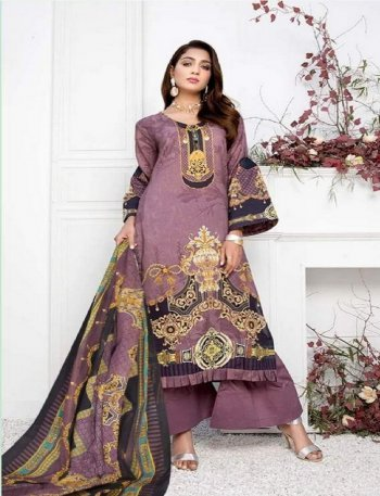 grape pure lawn  fabric print work casual