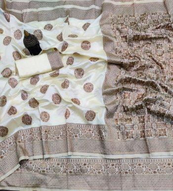 cream banarasi silk fabric jacqurad work work festival