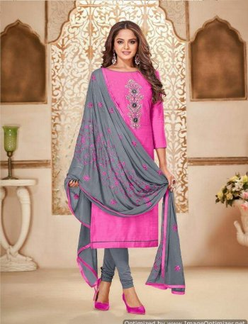 hot pink zarna silk  fabric embroidery work casual