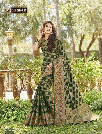 green banarasi silk fabric weaving work wedding