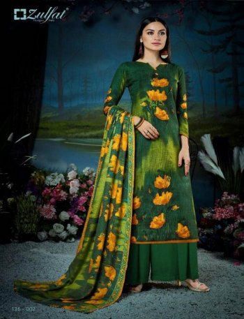 green pure pashmina fabric digital print work casual