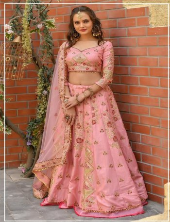 baby pink butter fly net fabric resham, zari,doriwork work wedding