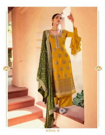 methi yellow mix fabric fabric chinon sequance embroidrey with jaquard daman work wedding