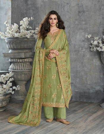 pista green mix febric fabric embroidery work wedding