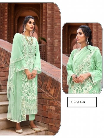 pista green net fabric embroidery work wedding