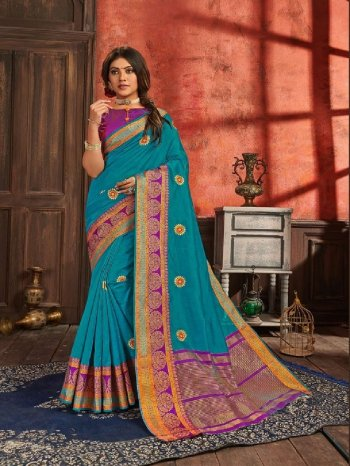 sky blue silk fabric embroidery work ethnic