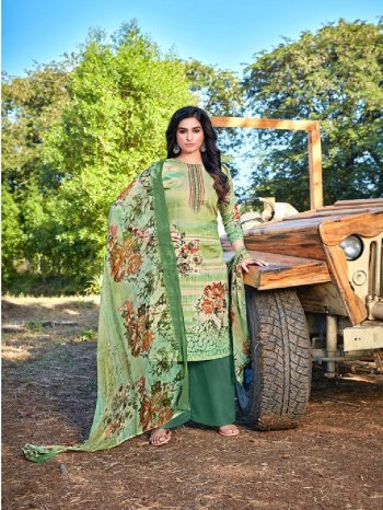mhendi green cotton fabric digital print work party