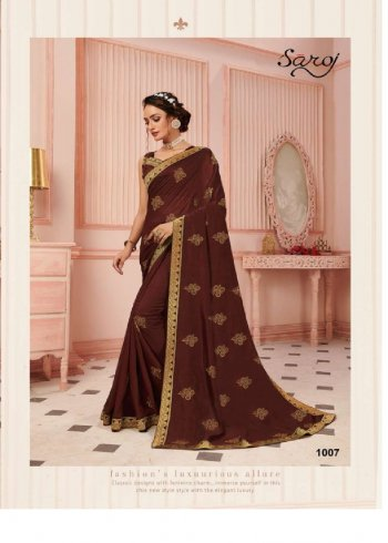 brown vichitra silk fabric printed work party