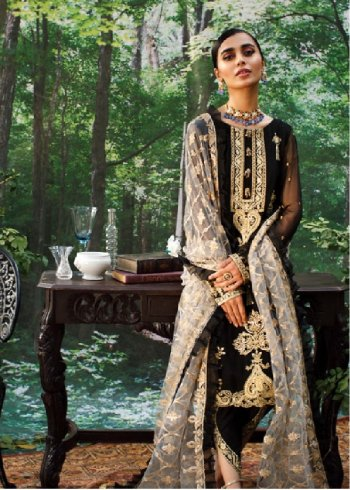 black georgette fabric embroidery work party